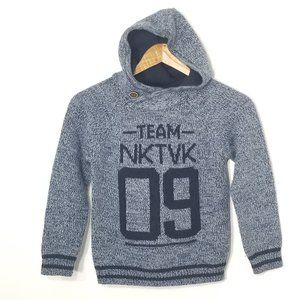 Nukutavake | Kids Wool Knit Hoodie Sweater Blue 8